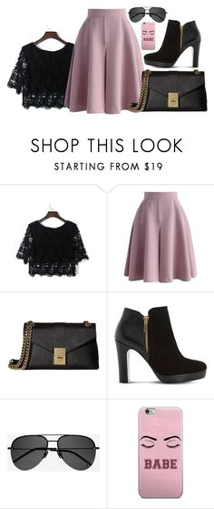 """""""lace shirt"""" by anna-bigsis ❤ liked on Polyvore featuring WithChic, Chicwish, Calvin Klein, Dune and Yves Saint Laurent"""