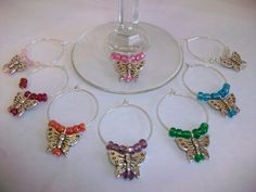Butterfly Wine Glass Charms in Organza Gift Bag, Butterfly Wine Lovers Gift, Butterfly Party Favors, Butterfly Theme Wine Glass Indicators by SeashellBeachDesigns on Etsy