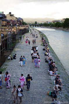 Kamogawa River in Kyoto in summer.