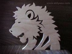 Sculpture en bois massif Lion en chantournage