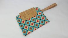 Nappy clutch aztec style print fabric with cork fabric finish. Nappy Wallet, Clutch Wallet, Pouch, Aztec Style, Diaper Clutch, Cork Fabric, Wet Wipe, Bobs, Mother Day Gifts