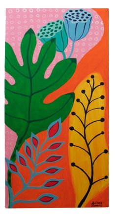 Leaves - Acrilic on canvas by Anita Romeo Stoff Design, Plant Painting, Diy Artwork, Tropical Art, Botanical Art, Collage Art, New Art, Flower Art, Watercolor Art