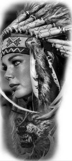 Native American Wolf, Native American Design, American Indians, Indian Wolf, War Bonnet, Photoshop, Cave, Black And Grey, Tattoo Designs