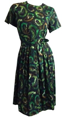 Garden Green Abstract Print Cotton Day Dress circa 1960s