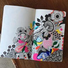 Took a picture in belize! vacation sketch moleskine by helen_dardik. Arte Sketchbook, Sketchbook Pages, Art Journal Pages, Art Sketches, Art Drawings, Illustrations, Illustration Art, Posca Art, Doodle Art Journals