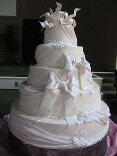 Cakes by Gina - Houston Cakes - Five-tier wedding cake with fondant bow details