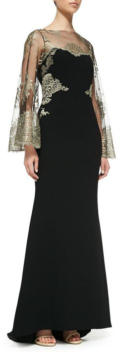 Badgley Mischka Collection Embroidered-Bodice Mermaid Gown on shopstyle.com