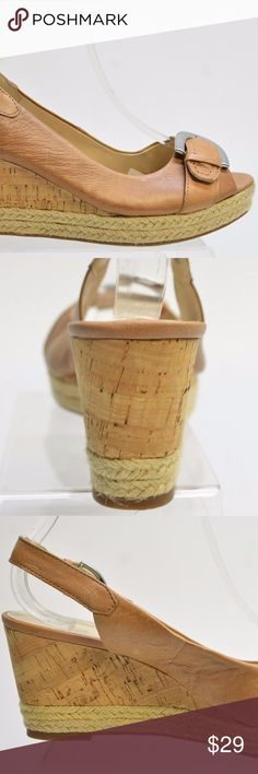 Franco Sarto KENDRA Women's Leather WEDGE SANDALS Franco Sarto KENDRA Women's Tan Leather WEDGE SANDALS Size 10.5M   Leather upper.  Open toe with buckle detail.  Adjustable slingback.  Cork wedge heel and espadrille platform.  Stock #K25 Franco Sarto Shoes Wedges