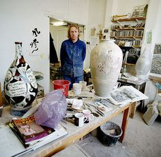 Grayson Perry in his studio, photo by Eamonn McCabe, March 2007