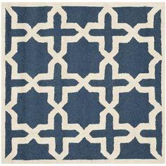 Safavieh Handmade Moroccan Cambridge Navy/ Ivory Wool Rug (4' Square) (CAM125G-4SQ), Blue, Size 4' x 4' (Cotton, Trellis)
