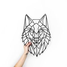 Metal Wall Art Geometric Wolf Head Steel Home Decor Polygonal - Our Giraffe Head Metal Sign Is A Modern And Stylish Geometric Wall Art Piece It Is Perfect For Decorating Your Home Or Like An Original Gift Made Of Quality Mm Steel That You Can Choose To S Geometric Drawing, Geometric Wall Art, Geometric Tattoos, Geometric Animal, Metal Wall Art Decor, Metal Art, Wall Decor, Wolf Tattoos, Maori Tattoos