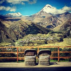 The view from the terrace of the Rooms Hotel Kazbegi