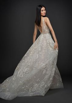 Style 3759 Lazaro bridal gown - Platinum candlelight floral embroidered tulle bridal ball gown, V neckline front and back, crystal embroidered trim at natural waist, box pleated skirt with side pockets, chapel train. Lazaro Dresses, Lazaro Wedding Dress, Lazaro Bridal, 2016 Wedding Dresses, Wedding Suits, Bridal Gowns, Wedding Gowns, Tulle Wedding, Bride Dresses