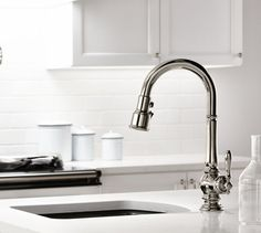 KOHLER Artifacts Pull-Down Kitchen Sink Faucet is one of several new designs featuring Sweep and BerrySoft spray. #Kitchen @fergusongallery