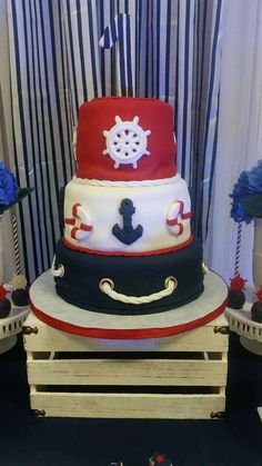 Amazing cake at a nautical birthday party! See more party planning ideas at CatchMyParty.com!