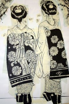 Two Geishas by Claire Kearns
