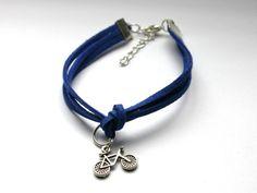 Niebieska bransoletka z rowerem w Especially for You! na http://pl.dawanda.com/shop/slicznieilirycznie #DaWanda #biżuteria #jewellery #jewelry #Schmuck #bransoletka #Armband #bracelet #handmade   #rzemienie #straps