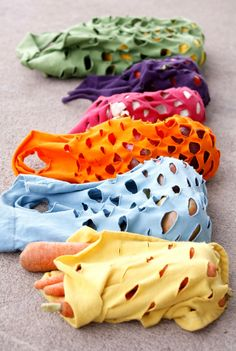 make re-usable produce bags out of t-shirts. http://www.u-createcrafts.com/2011/05/t-shirt-produce-bags.html