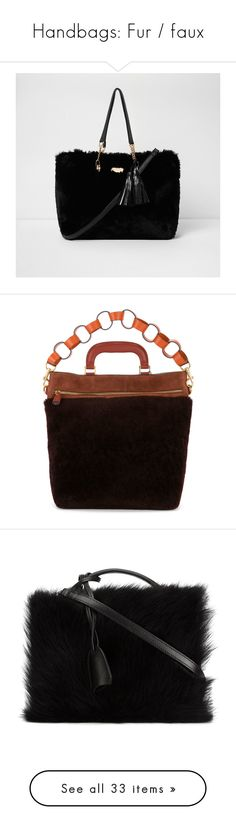 """Handbags: Fur / faux"" by judy78 ❤ liked on Polyvore featuring bags, handbags, tote bags, bags / purses, black, shopper & tote bags, women, shopping bag, purse tote and tassel purse"