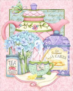 I love the beautiful soft colors of Joy Hall's artwork. I love the beautiful soft colors of Joy Hall's artwork. Tee Kunst, Etiquette Vintage, Teapots And Cups, Teacups, Tea Art, Decoupage Paper, My Cup Of Tea, Kitchen Art, Kitchen Prints
