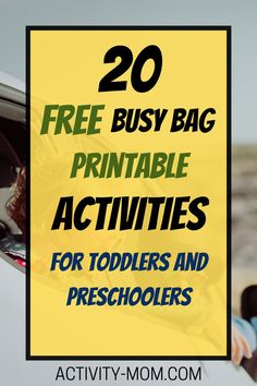 Busy bags for toddlers and preschoolers that you can print for FREE!  #busybags #freeprintable #diy #preschooler #toddler #kidsactivities Printable Activities For Kids, Preschool Learning Activities, Interactive Activities, Travel Activities, Toddler Preschool, Fun Learning, Preschool Activities, Group Boards, Busy Bags