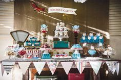 Baby Shower Ideas for Boys | Precious Cargo Vintage Travel Baby Shower by I Heart to Party #babyshowerideasforboys #airplanethemedbabyshower