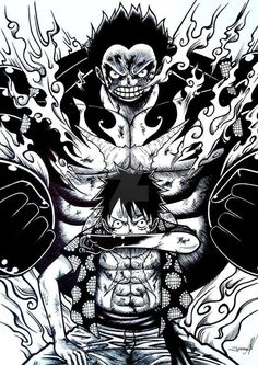 Different forms of the same character  (Luffy Gear Fourth!)