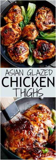 Roasted Asian Glazed Chicken Thighs | http://cafedelites.com