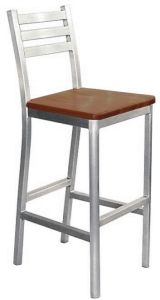 Aluminum Bar Stool Wood Seat