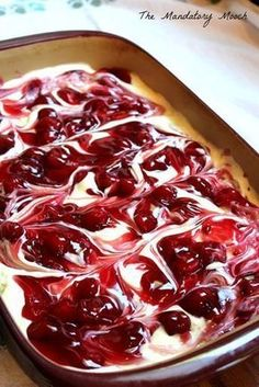 Cherry Cheesecake Surprise Layered Dessert I got this recipe years ago from a friend of mine. I remember thinking that it looked so complicated and tasted so decadent. I was ver. Cherry Desserts, Layered Desserts, Cherry Recipes, Easy Desserts, Pudding Desserts, Cherry Cake, Cherry Cheescake, Cherry Delight Dessert, Strawberry Pie