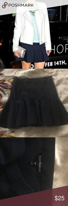 Juicy Navy Fit Flare Dress Beautiful navy blue fit flare skirt from Juicy Couture. Size zip, nice heavier bandage like material. Beautiful structure! Size medium, can fit small! Perfect condition! Juicy Couture Skirts Mini