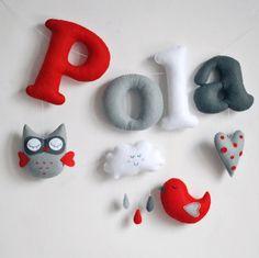 Nombre fieltro banner garland para niños | regalo personalizado para bebés | decoración infantil | hecho a mano | Buho aire caliente globo nube gris blanco rojo