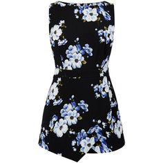 Black Sleeveless Floral Print Wrap Playsuit ($12) ❤ liked on Polyvore featuring jumpsuits, rompers, dresses, playsuits, jumpsuit, vestidos, floral romper jumpsuit, wrap romper, floral print romper and playsuit romper