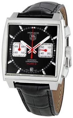 Men's Stainless Steel Monaco Black Dial Leather Strap Chronograph