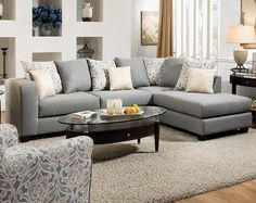 Light Gray Two Piece Couch | Splendor Gray 2 PC. Sectional Sofa | American Freight