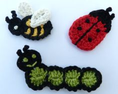 Crochet applique,3 small crochet insects , cards, scrapbooks, appliques and embellishments