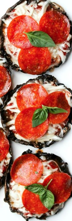 Mushroom Pizza Caps- I would use sausage and peppers. Or no meat for the vegie people