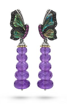 Zen Garden Butterfly Earrings – Black Mother of Pearl, Black Diamond, Pink Sapphire & Amethyst