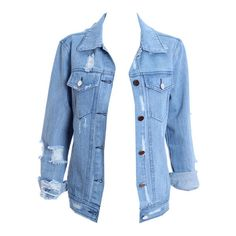 Distressed Light-Blue Denim Jacket (€41) ❤ liked on Polyvore featuring outerwear, jackets, tops, shirts, denim jacket, distressed jean jacket, light blue denim jacket, blue denim jacket and distressed jacket