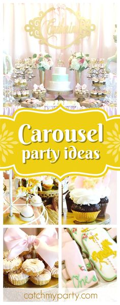 Take a look at this pretty Carousel 1st birthday party. The cake pops are gorgeous!! See more party ideas and share yours at CatchMyParty.com