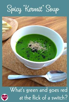 """Spicy """"Kermit"""" Soup recipe made with raw vegetables in the vitamix. Click through to find out the answer!"""