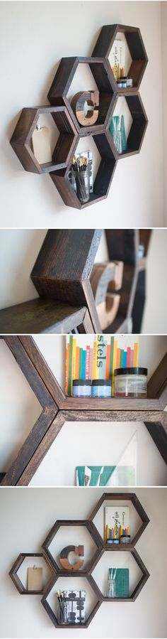 41 Ideas wood projects for her shelves for 2019 Popular Woodworking, Woodworking Projects, Hexagon Shelves, Hallway Designs, Honeycomb Pattern, Wooden Shelves, Floating Shelves, Tiny House Plans, Wood Working For Beginners