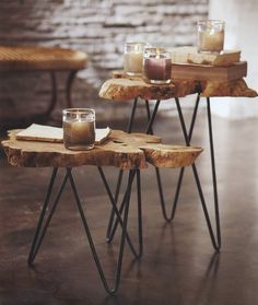 Love these burl tables with the retro metal legs.