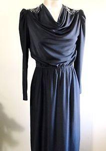 Vintage Couture Black DRESS Beads & Sequins Nancy Bracoloni for SHANGRI LA Xs-S