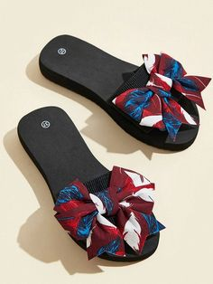 Bow Decor Slippers | SHEIN UK Slippers, Bows, Shopping, Decor, Arches, Decoration, Bowties, Dekoration, Slipper