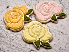How to make royal icing scribble style rose cookies with Sweet Kissed Confections!