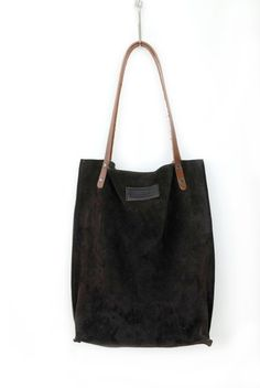Image of Chocolate Dark Brown Suede Leather Tote Bag - Raw Sensual Smooth Handbag