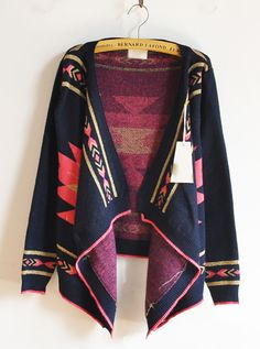 Vintage Geometric Pattern Knitting Cape-- I like this shape to use as inspiration for a sewn jacket