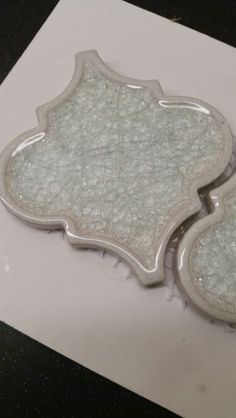 Crackled glass arabesque tile at tilebar.com                                                                                                                                                                                 More