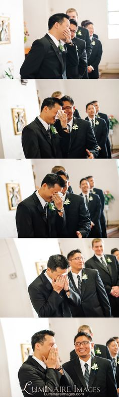 Groom's genuine reaction to the bride walking down the aisle
